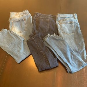 3 pairs skinny jeans Forever 21 and Univ Threads